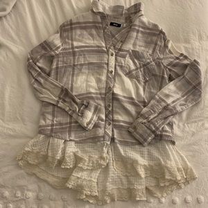BDG Urban Outfitters lace hem flannel
